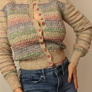 Vintage Cottagecore Embroidered Wool Sweater
